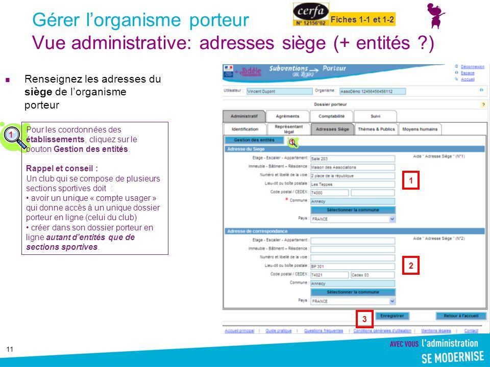 Gérer l'organisme porteur Vue administrative: adresses siège (+ entités )