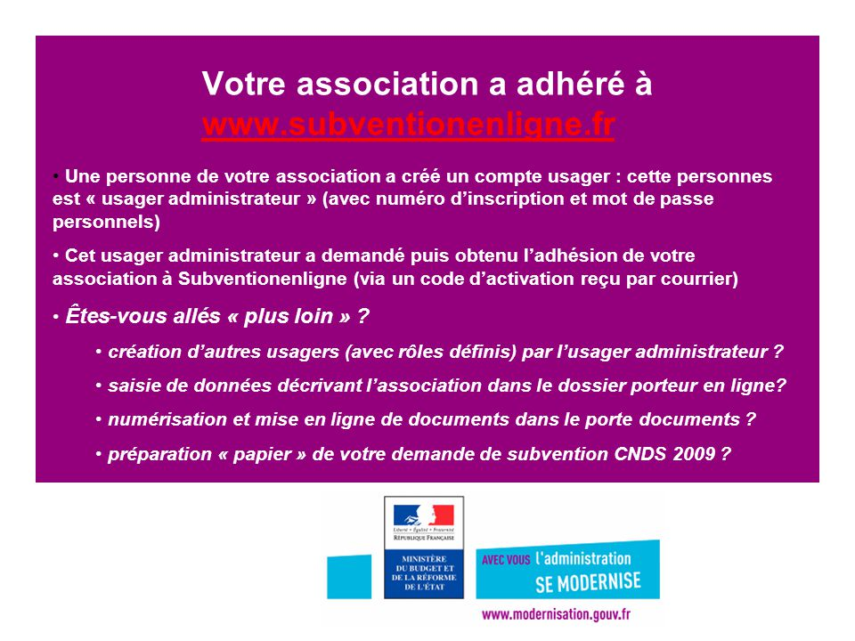 Votre association a adhéré à www.subventionenligne.fr