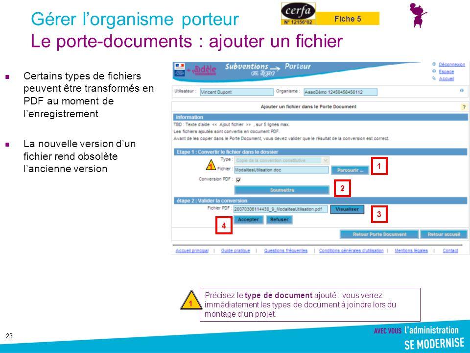 Gérer l'organisme porteur Le porte-documents : ajouter un fichier