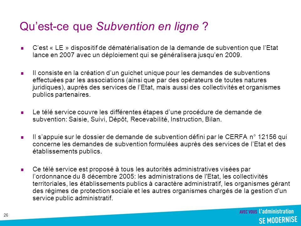 Qu'est-ce que Subvention en ligne