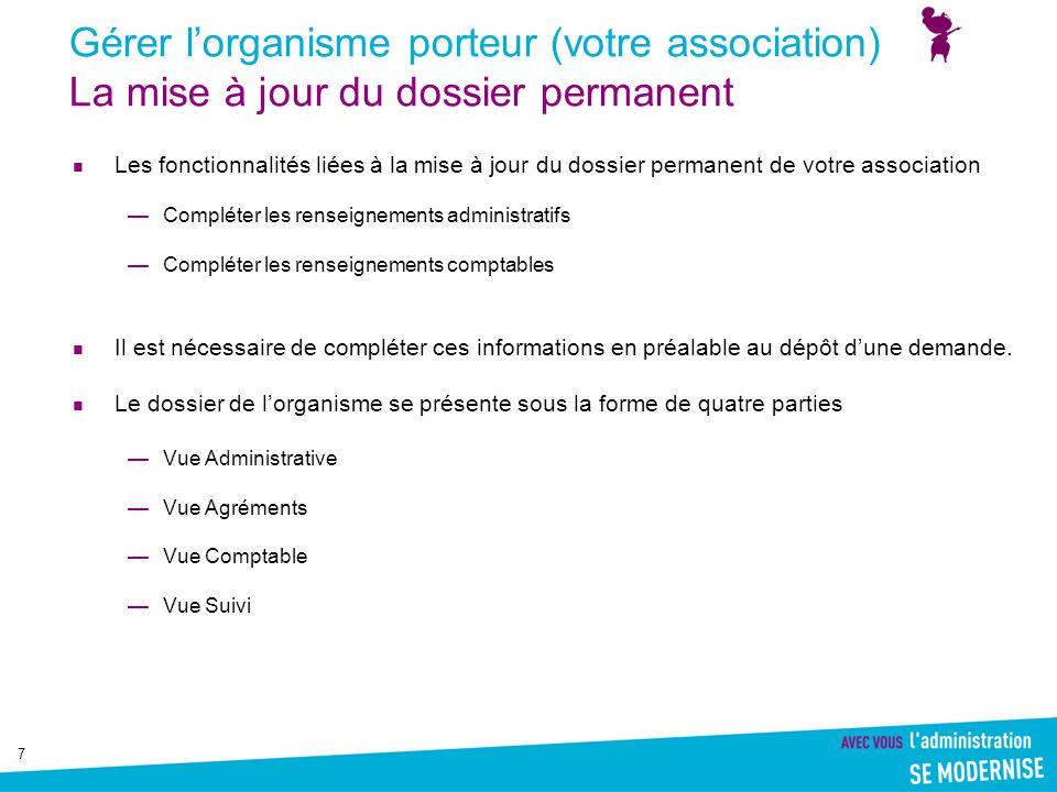Gérer l'organisme porteur (votre association) La mise à jour du dossier permanent