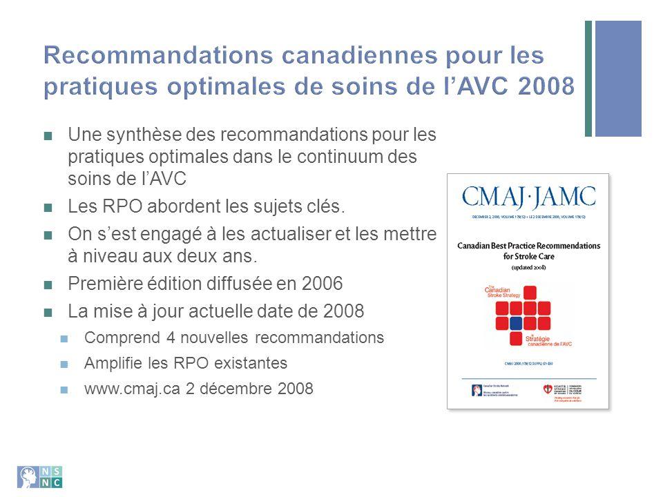 Recommandations canadiennes pour les pratiques optimales de soins de l'AVC 2008