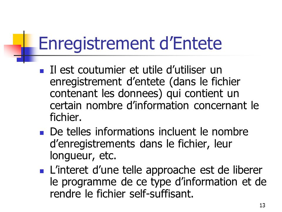 Enregistrement d'Entete