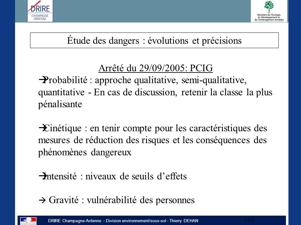 Étude des dangers : évolutions et précisions
