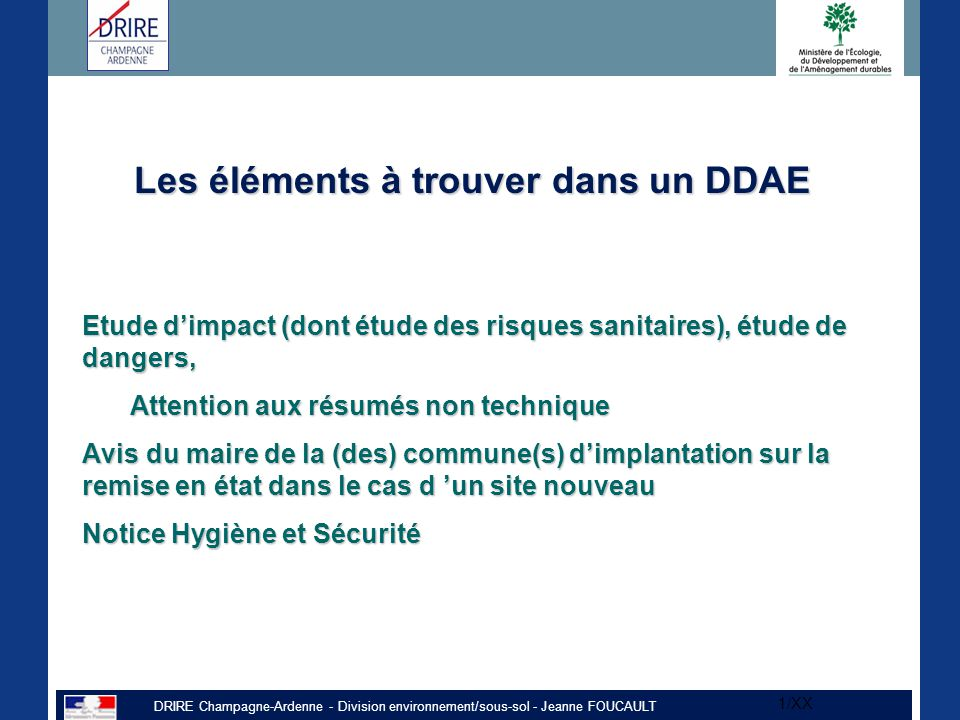 Les éléments à trouver dans un DDAE