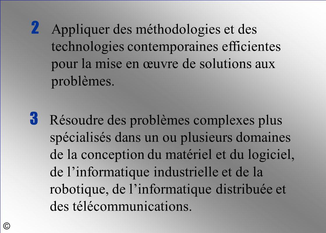 2 Appliquer des méthodologies et des technologies contemporaines efficientes pour la mise en œuvre de solutions aux problèmes.