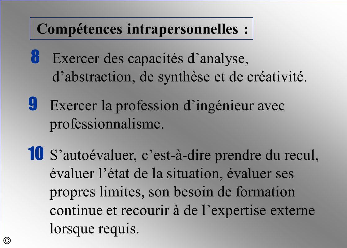 9 Exercer la profession d'ingénieur avec professionnalisme.