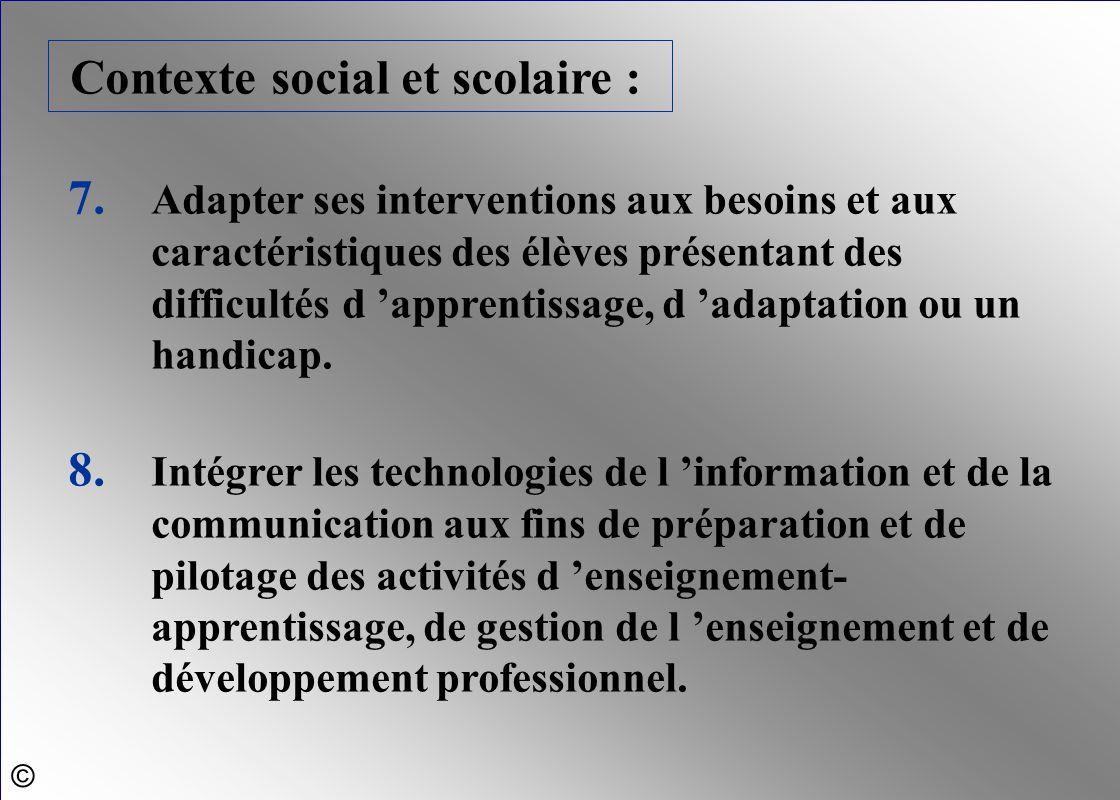 Contexte social et scolaire :