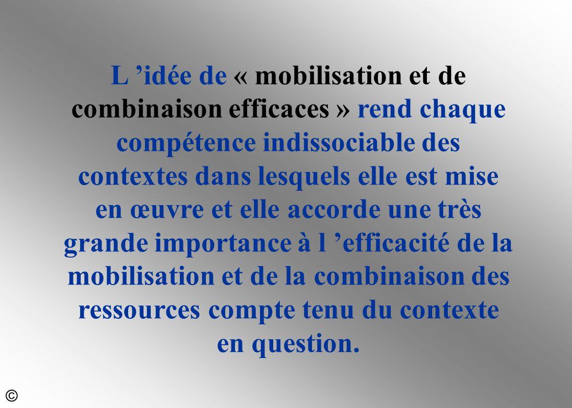 L 'idée de « mobilisation et de combinaison efficaces » rend chaque compétence indissociable des contextes dans lesquels elle est mise en œuvre et elle accorde une très grande importance à l 'efficacité de la mobilisation et de la combinaison des ressources compte tenu du contexte en question.