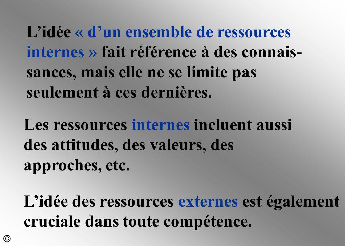 L'idée « d'un ensemble de ressources internes » fait référence à des connais-sances, mais elle ne se limite pas seulement à ces dernières.