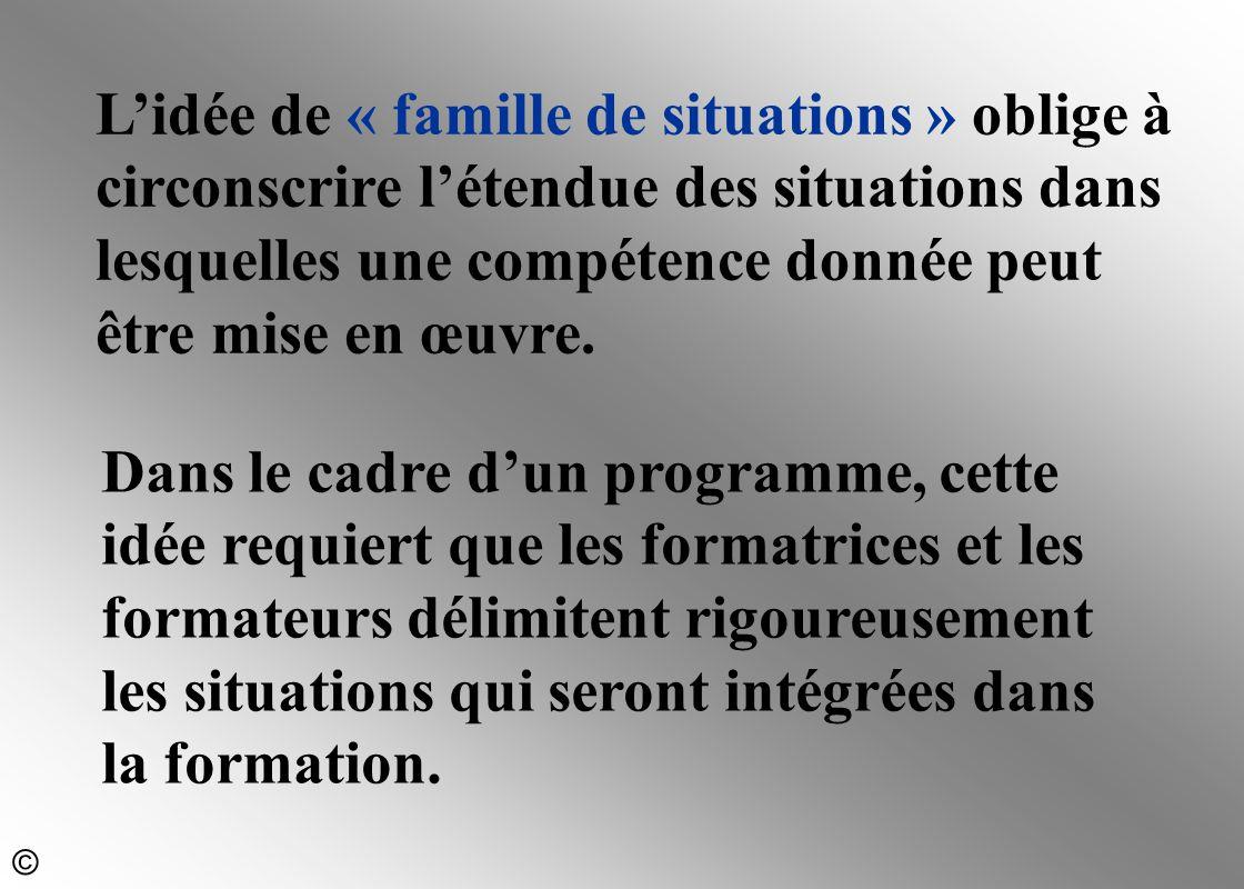 L'idée de « famille de situations » oblige à circonscrire l'étendue des situations dans lesquelles une compétence donnée peut être mise en œuvre.