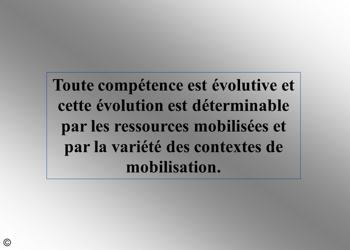 Toute compétence est évolutive et cette évolution est déterminable par les ressources mobilisées et par la variété des contextes de mobilisation.