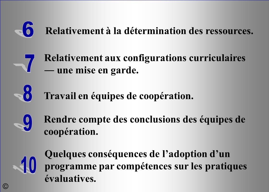 Relativement à la détermination des ressources. 6