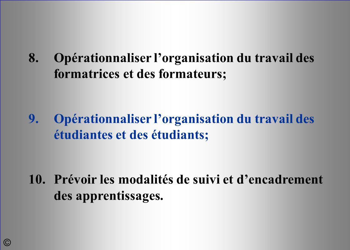 8. Opérationnaliser l'organisation du travail des