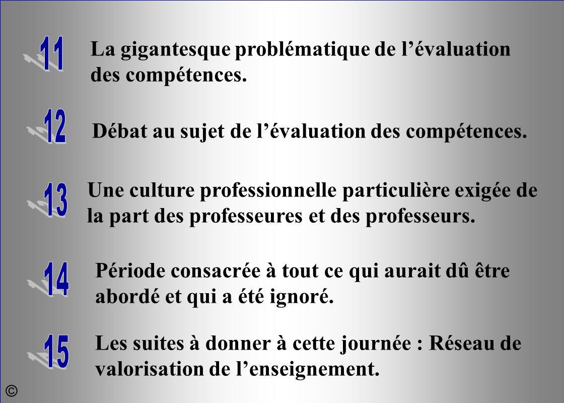 La gigantesque problématique de l'évaluation des compétences. 11