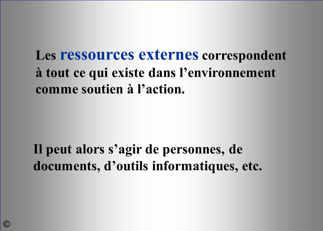 Les ressources externes correspondent à tout ce qui existe dans l'environnement comme soutien à l'action.