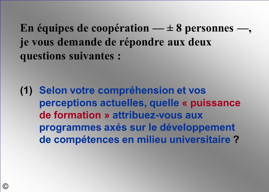 En équipes de coopération — ± 8 personnes —, je vous demande de répondre aux deux questions suivantes :