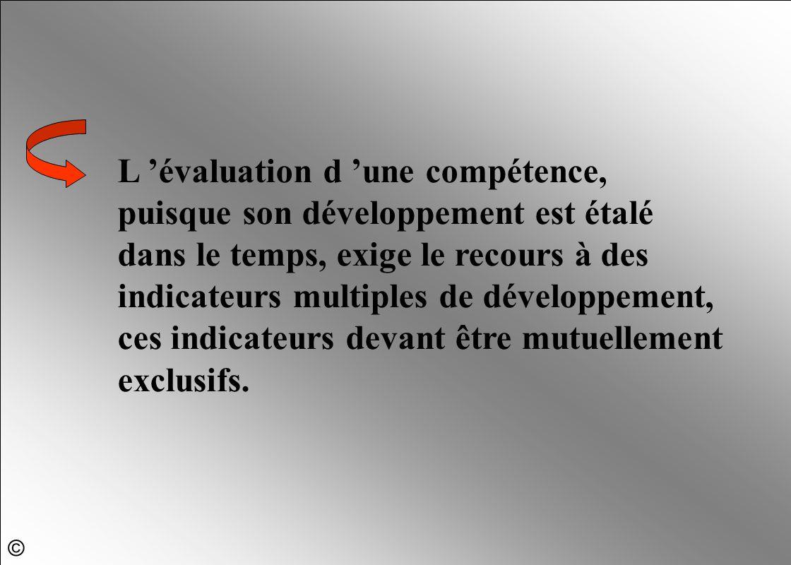 L 'évaluation d 'une compétence, puisque son développement est étalé dans le temps, exige le recours à des indicateurs multiples de développement, ces indicateurs devant être mutuellement exclusifs.