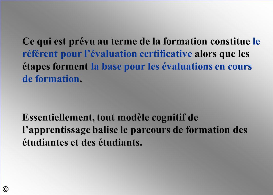 Ce qui est prévu au terme de la formation constitue le référent pour l'évaluation certificative alors que les étapes forment la base pour les évaluations en cours de formation.
