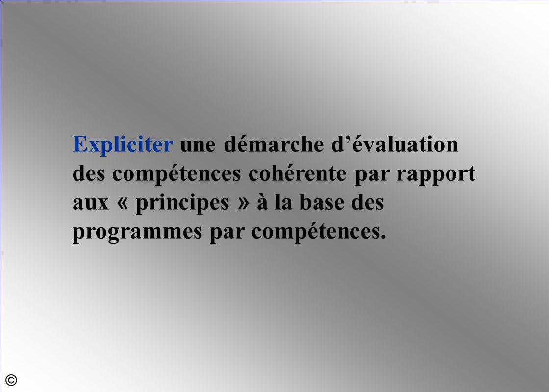 Expliciter une démarche d'évaluation des compétences cohérente par rapport aux « principes » à la base des programmes par compétences.