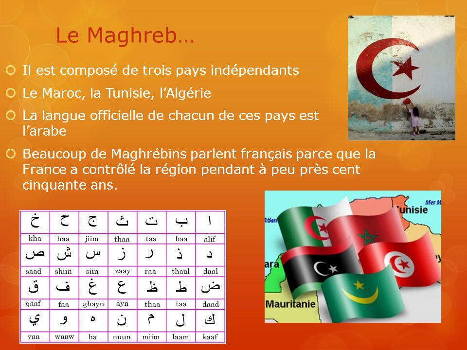 Le Maghreb… Il est composé de trois pays indépendants