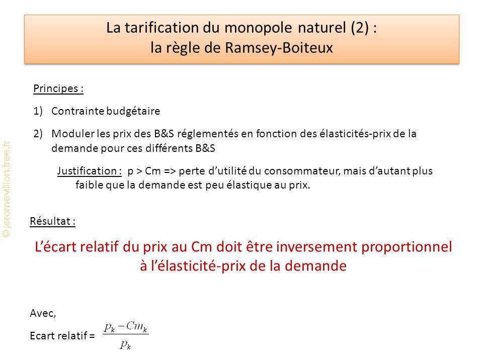La tarification du monopole naturel (2) : la règle de Ramsey-Boiteux