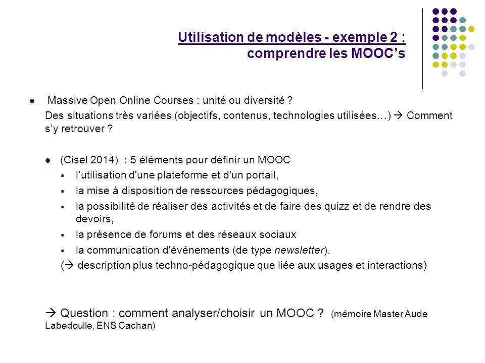 Utilisation de modèles - exemple 2 : comprendre les MOOC's
