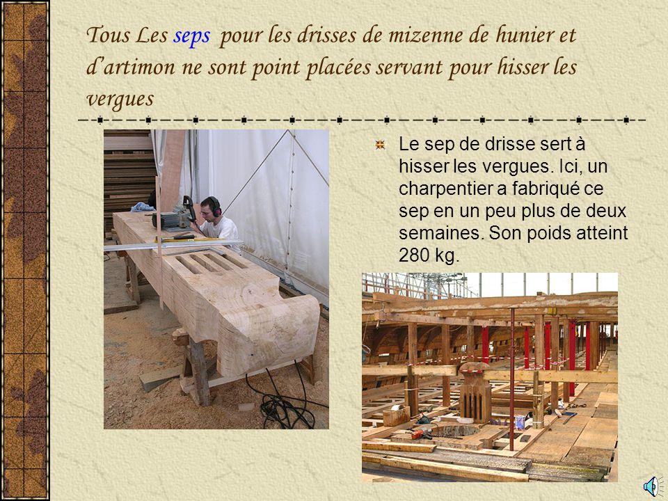 Tous Les seps pour les drisses de mizenne de hunier et d'artimon ne sont point placées servant pour hisser les vergues