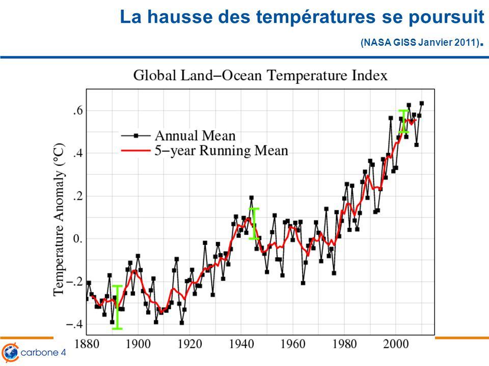La hausse des températures se poursuit (NASA GISS Janvier 2011).