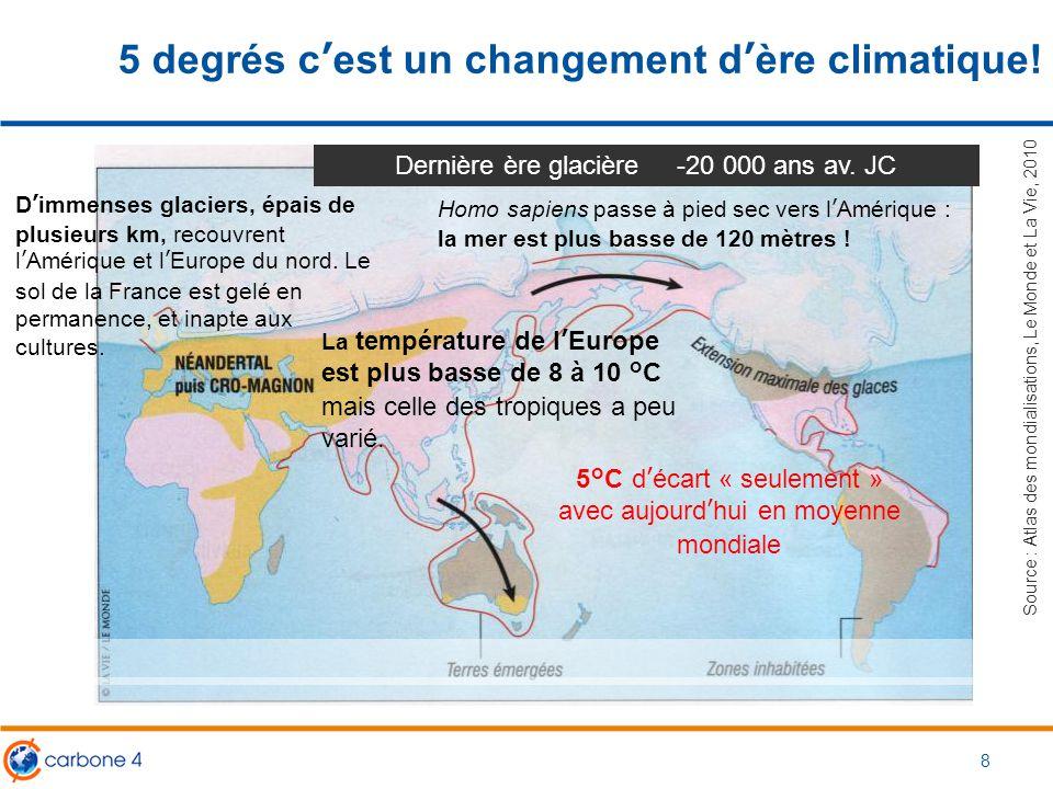 5 degrés c'est un changement d'ère climatique!