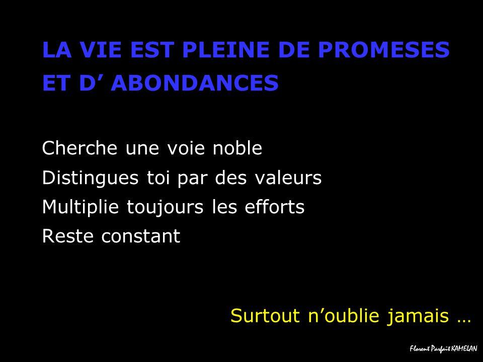 LA VIE EST PLEINE DE PROMESES ET D' ABONDANCES Cherche une voie noble Distingues toi par des valeurs Multiplie toujours les efforts Reste constant