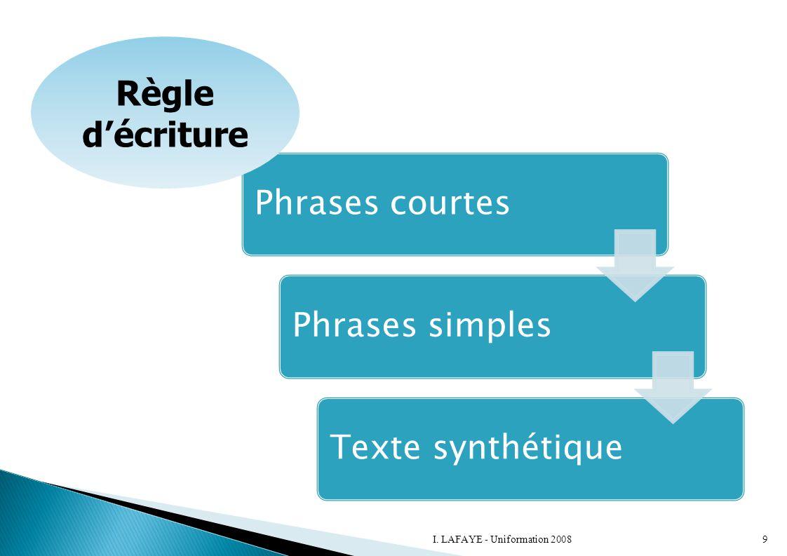 Règle d'écriture I. LAFAYE - Uniformation 2008 Phrases courtes