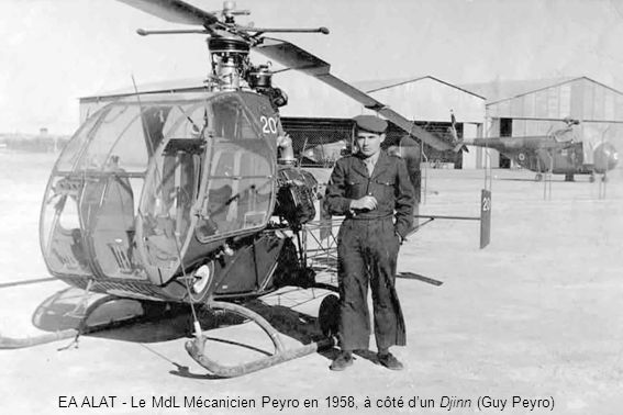EA ALAT - Le MdL Mécanicien Peyro en 1958, à côté d'un Djinn (Guy Peyro)