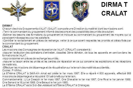 DIRMA T CRALAT. DIRMAT. Chacun des trois Groupements d'ALAT (GALAT) comporte une Direction du matériel dont les missions sont :