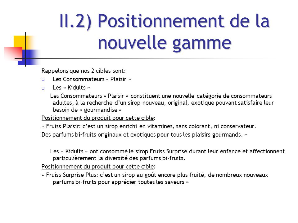 II.2) Positionnement de la nouvelle gamme
