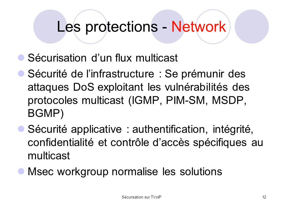 Les protections - Network