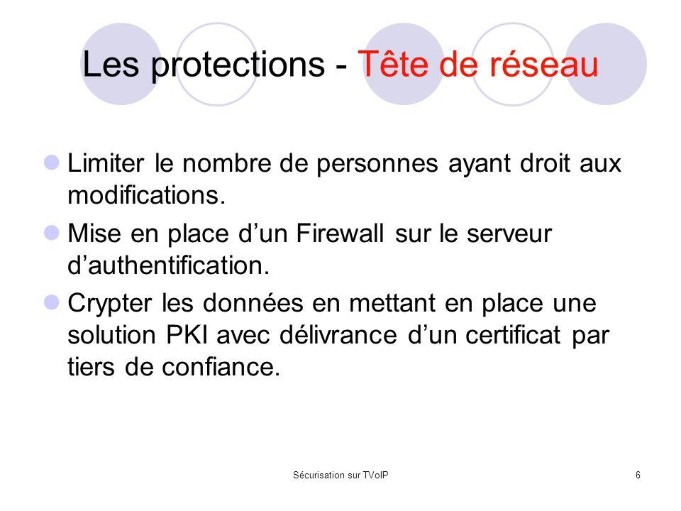 Les protections - Tête de réseau