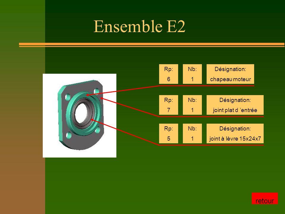 Ensemble E2 retour Rp: 6 Nb: 1 Désignation: chapeau moteur Rp: 7 Nb: 1