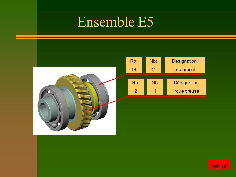Ensemble E5 retour Rp: 18 Nb: 2 Désignation: roulement Rp: 2 Nb: 1