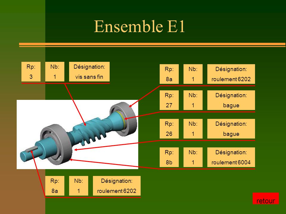 Ensemble E1 retour Rp: 3 Nb: 1 Désignation: vis sans fin Rp: 8a Nb: 1