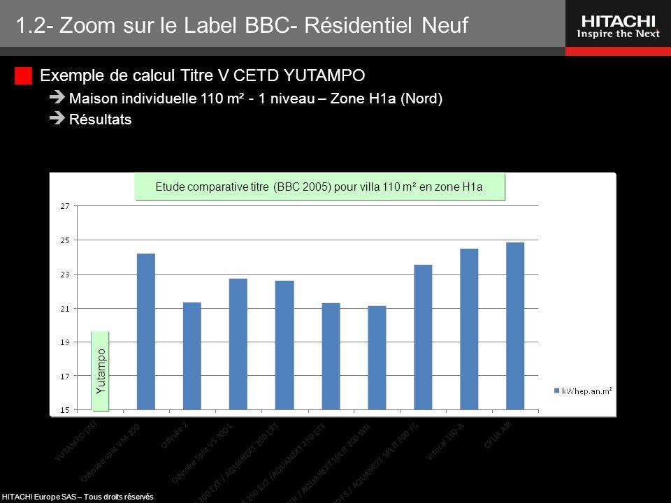 Etude comparative titre (BBC 2005) pour villa 110 m² en zone H1a