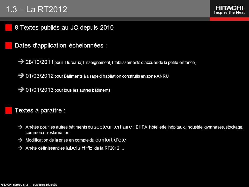 1.3 – La RT2012 8 Textes publiés au JO depuis 2010