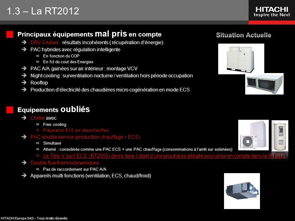 1.3 – La RT2012 Principaux équipements mal pris en compte