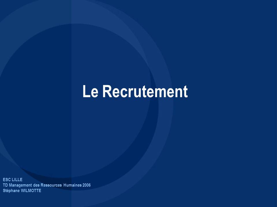 ESC LILLE TD Management des Ressources Humaines 2006 Stéphane WILMOTTE