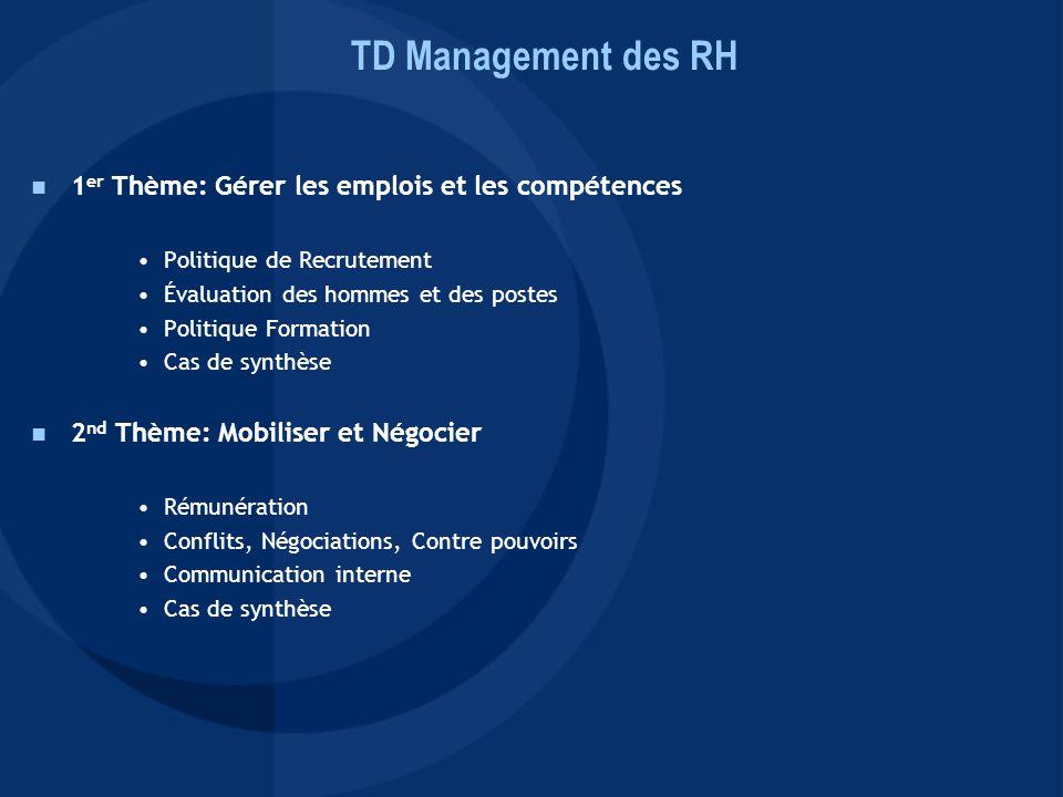 TD Management des RH 1er Thème: Gérer les emplois et les compétences