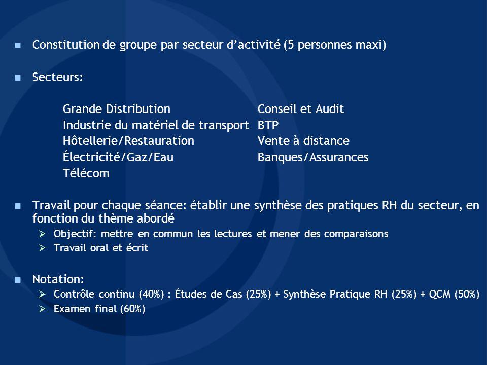 Constitution de groupe par secteur d'activité (5 personnes maxi)
