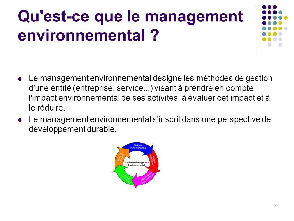 Qu est-ce que le management environnemental