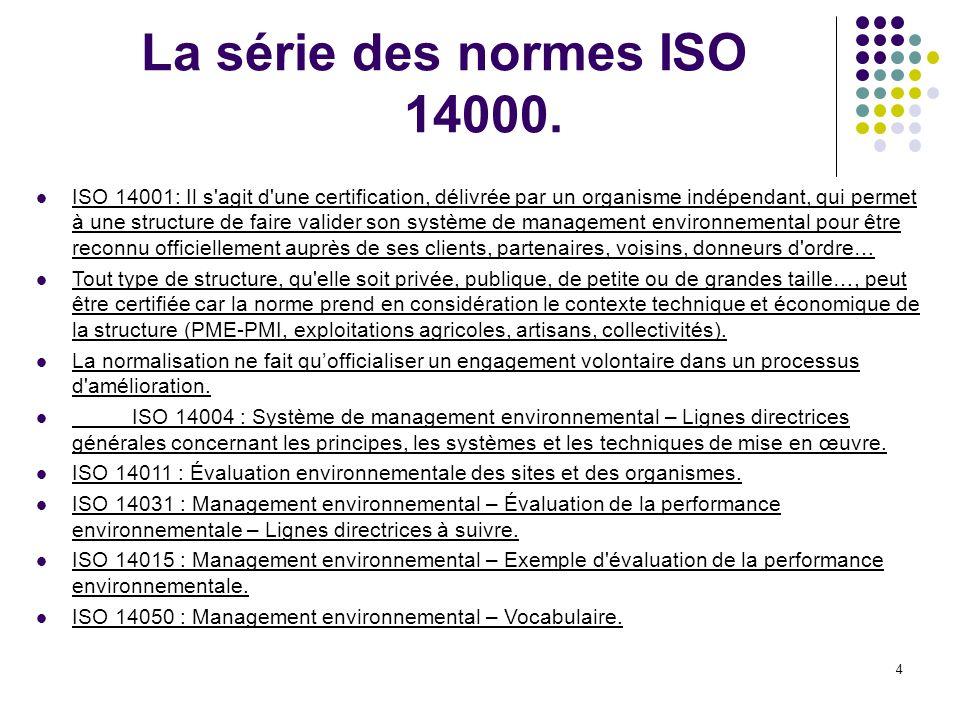 La série des normes ISO 14000.