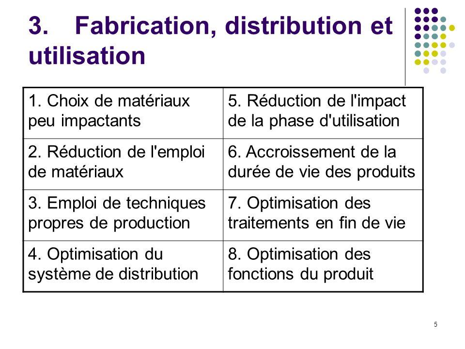 3. Fabrication, distribution et utilisation