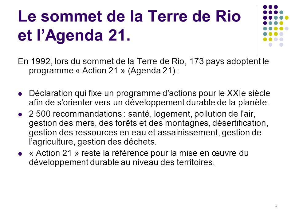Le sommet de la Terre de Rio et l'Agenda 21.